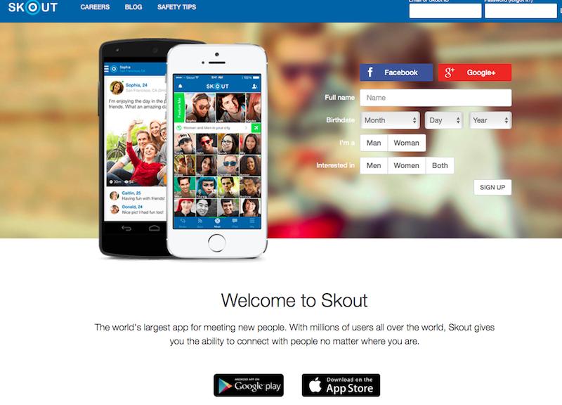 SKOUTのトップページの登録画面