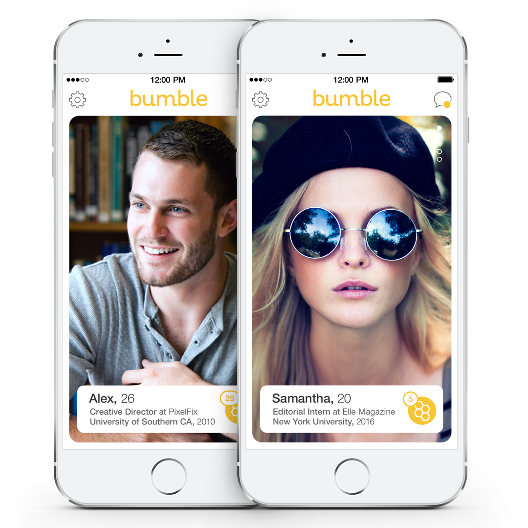 Bumbleの男女ユーザーの画面
