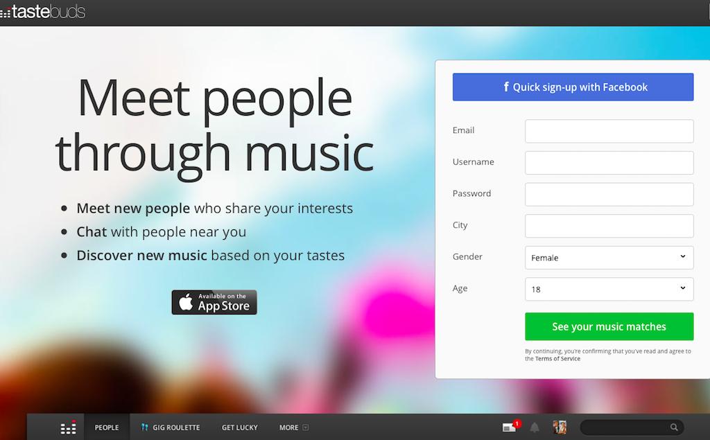 Tastebudsのサイトトップ画面